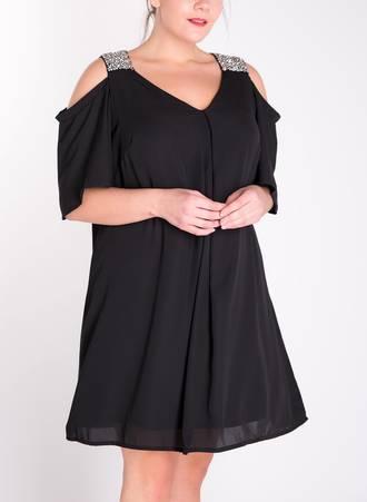 Φόρεμα Μαύρο με Παγιέτα στον Ώμο Maniags