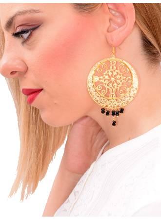 Σκουλαρίκια με Μαύρα Κρυσταλάκια Maniags