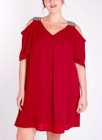 Φόρεμα Κόκκινο με Παγιέτα στον Ώμο Maniags