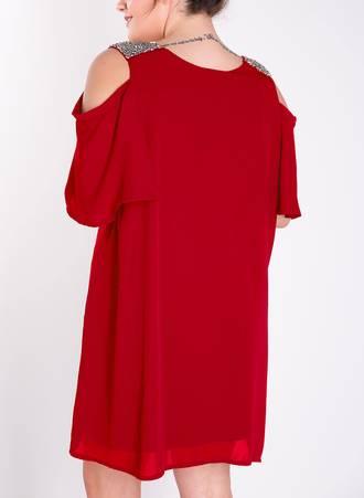 Φόρεμα Κόκκινο με Παγιέτα στον Ώμο 50181-2 Maniags