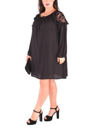 Μπλουζοφόρεμα Μαύρο με Δαντέλα Maniags
