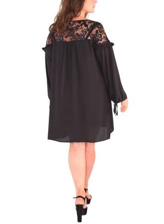 Μπλουζοφόρεμα Μαύρο με Δαντέλα 50239-2 Maniags