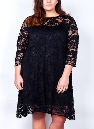 Φόρεμα Μαύρο Δαντέλα με 3/4 Μανίκι Maniags