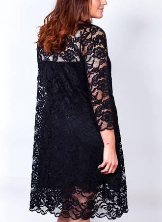 Φόρεμα Μαύρο Δαντέλα με 3/4 Μανίκι 50243-2 Maniags