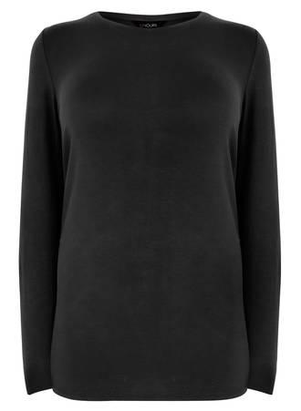 Μπλούζα Μαύρη Μακρυμάνικη Ελαστική Black_Long_Sleeve_Soft_Touch_Jersey_Top_132329_ab54 Maniags