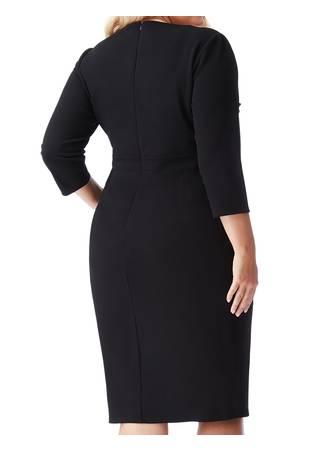 Φόρεμα Μαύρο Midi με Χρυσή Λεπτομέρεια στο Ντεκολτέ DR1303P_black_back_l7 Maniags