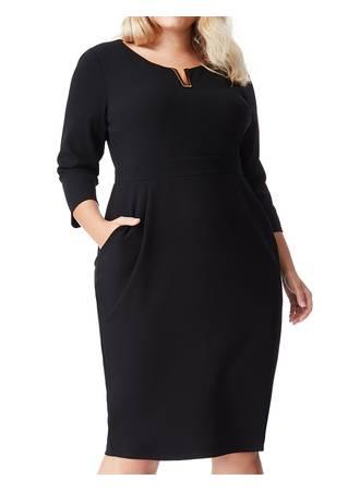 Φόρεμα Μαύρο Midi με Χρυσή Λεπτομέρεια στο Ντεκολτέ Maniags