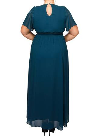 Φόρεμα Μάξι Πετρόλ Μουσελίνα DR2848-06 Maniags