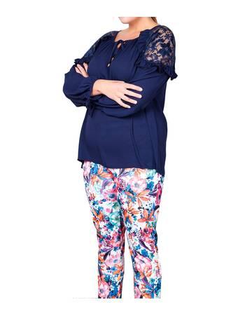 Μπλούζα Navy με Λεπτομέρεια Δαντέλα lace-shoulder-ruffle-blouse-main-wholesale-manufacturer_5 Maniags