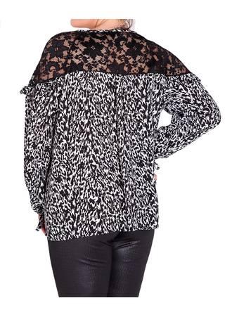 Μπλούζα Ασπρόμαυρη με Λεπτομέρεια Δαντέλα lace-shoulder-ruffle-blouse-side-wholesale-manufacturer_6 Maniags