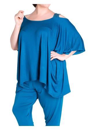 Μπλούζα 'Εξωμη Βισκόζ Πετρόλ sequin-cold-shoulder-batwing-lounge-top-full-wholesale-manufacturer_3 Maniags