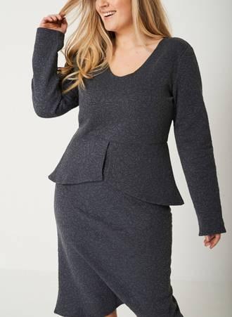 Φόρεμα Midi Γκρι με Ανάγλυφο Σχέδιο 50517_3 Maniags