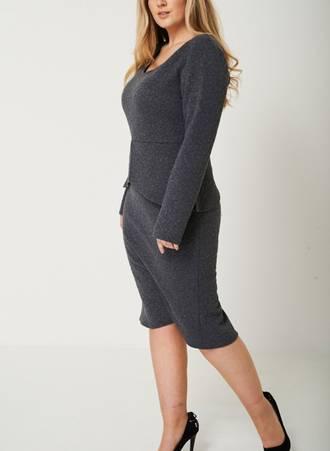 Φόρεμα Midi Γκρι με Ανάγλυφο Σχέδιο Maniags