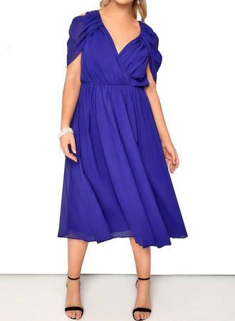 Φόρεμα Midi Μπλε Chiffon Maniags