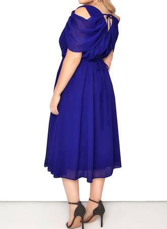 Φόρεμα Midi Μπλε Chiffon 50522-2 Maniags