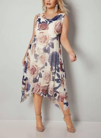 Φόρεμα Φλοραλ Ασύμμετρο 50561-2 Maniags