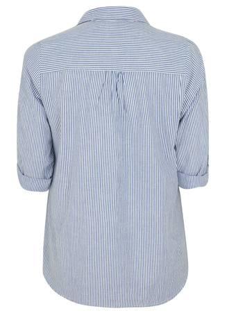 Πουκάμισο Ριγέ Γαλάζιο με Κέντημα 50607-8 Maniags