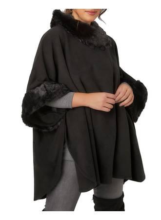 Κάπα Μαύρη Black_Fleece_Wrap_With_Faux_Fur_Trims_120083_4623 Maniags