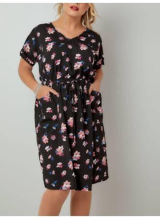 Φόρεμα Φλοράλ με Τσέπες Black_Pink_Floral_Print_Woven_T-Shirt_Dress_136153_5060 Maniags