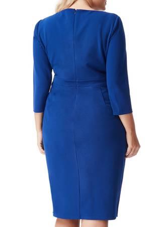 Φόρεμα Royal Blue Midi με Χρυσή Λεπτομέρεια στο Ντεκολτέ DR1303P_royalblue_back_l_u0cv-e2 Maniags