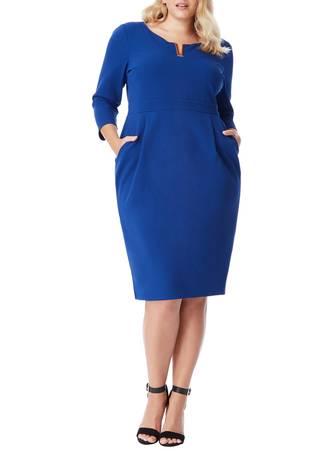 Φόρεμα Royal Blue Midi με Χρυσή Λεπτομέρεια στο Ντεκολτέ DR1303P_royalblue_co_l Maniags