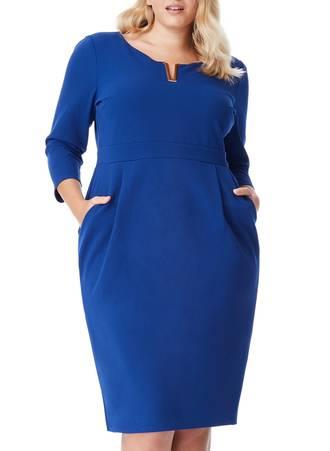 Φόρεμα Royal Blue Midi με Χρυσή Λεπτομέρεια στο Ντεκολτέ Maniags