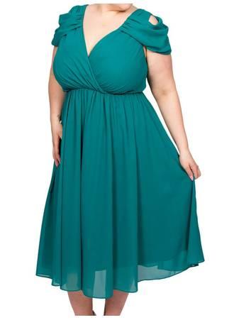 Φόρεμα Midi Πράσινο Chiffon Maniags
