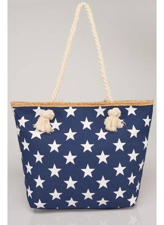 Τσάντα Θαλάσσης Navy με Λευκά Αστέρια Maniags