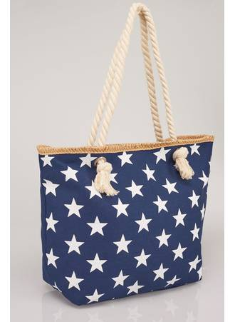 Τσάντα Θαλάσσης Navy με Λευκά Αστέρια Navy_White_Star_Print_Beach_Bag_With_Rope_Handles_152243_fff7 Maniags