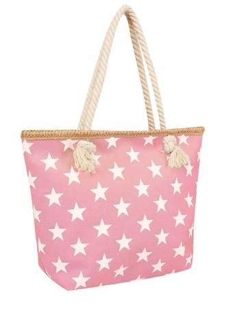 Τσάντα Θαλάσσης Ροζ με Λευκά Αστέρια Maniags