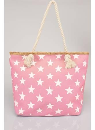 Τσάντα Θαλάσσης Ροζ με Λευκά Αστέρια Pink_White_Star_Print_Beach_Bag_With_Rope_Handles_152242_b8e3 Maniags