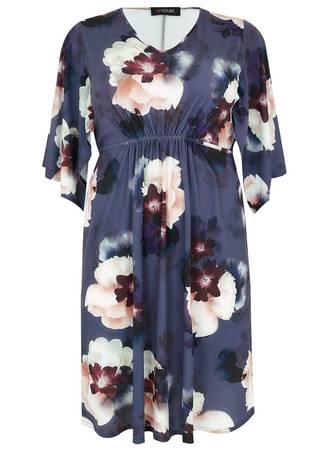 Φόρεμα Μωβ Φλοραλ με Μανίκι Νυχτερίδα Maniags