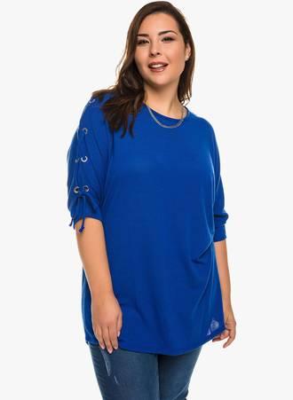 Μπλούζα Μπλε με Κορδόνι στο Μανίκι Maniags