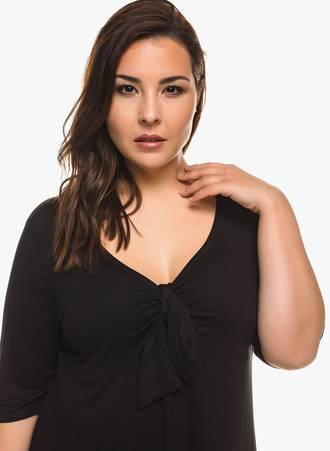Μπλούζα Μαύρη με Φιόγκο στο Ντεκολτέ 0279 Maniags