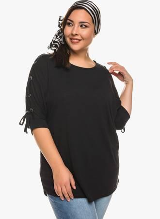 Μπλούζα Μαύρη με Κορδόνι στο Μανίκι Maniags