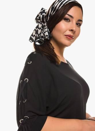 Μπλούζα Μαύρη με Κορδόνι στο Μανίκι 0300 Maniags