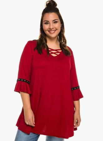 Μπλούζα Κόκκινη με Μανίκι Καμπάνα Maniags