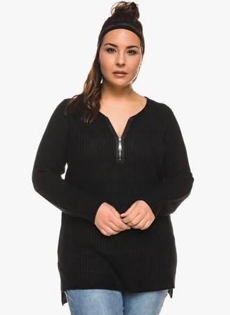 Πλεκτή Μπλούζα Μαύρη με Φερμουάρ στο Ντεκολτέ Maniags
