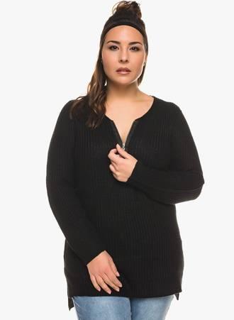 Πλεκτή Μπλούζα Μαύρη με Φερμουάρ στο Ντεκολτέ 0333 Maniags