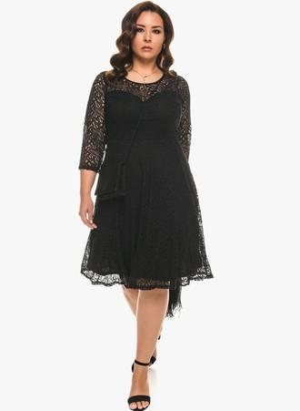 Δαντελένιο Μαύρο Φόρεμα σε 'Α' Γραμμή Maniags