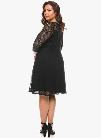 Δαντελένιο Μαύρο Φόρεμα σε 'Α' Γραμμή 0551 Maniags