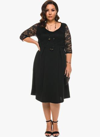 Φόρεμα Μαύρο Μίντι με Μαύρη Δαντέλα Maniags