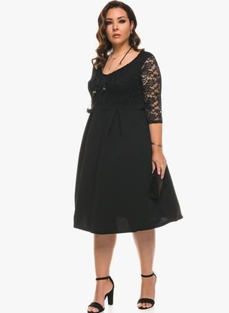 Φόρεμα Μαύρο Μίντι με Μαύρη Δαντέλα 0556 Maniags