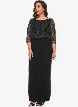 Μάξι Φόρεμα με Μεταλλική Δαντέλα 0563 Maniags