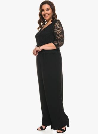 Φόρμα Ολόσωμη Μαύρη με Δαντέλα 0571 Maniags
