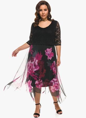 Φόρεμα Floral Δαντέλα Maniags
