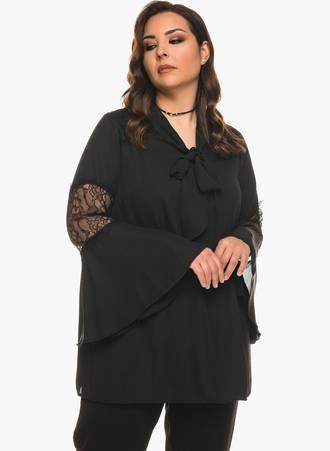 Μπλούζα Μαύρη Chiffon με Λεπτομέρεια Δαντέλας 0612 Maniags