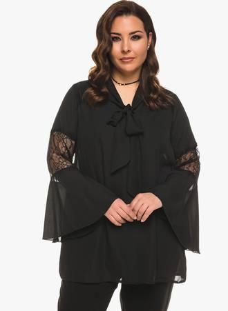 Μπλούζα Μαύρη Chiffon με Λεπτομέρεια Δαντέλας Maniags