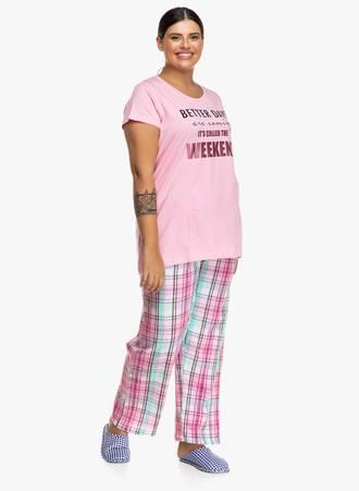 Πυτζάμα Ροζ με Καρό Παντελόνι Maniags