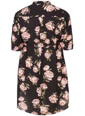 Πουκάμισο Φόρεμα Ασύμμετρο Φλοραλ 50699-5_0czd-37 Maniags